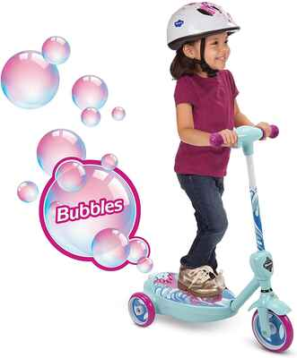 #7. Huffy Battery Powered Action Start 2 MPH Acceleration 6V 2-in-1 Bubble Girl Scooter (Mermaid)