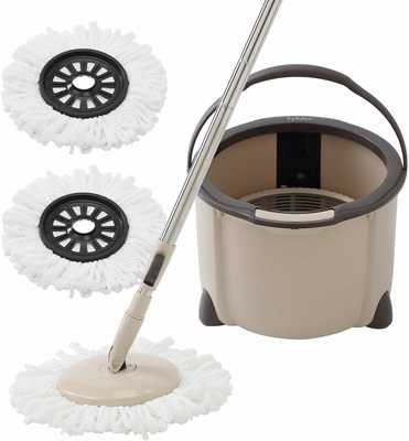 #9. Eyliden 2 Microfiber Mop Pads Spin Mop and Bucket Floor Cleaning System with Adjustable Handle