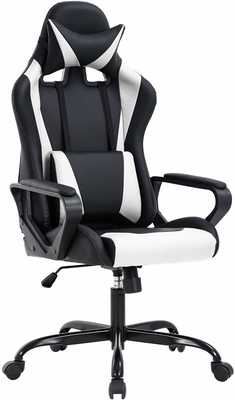 #10. BestOffice Swivel Rolling Lumbar Support High-Back PU Leather Computer Gaming Chair (White)