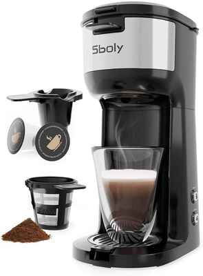 #7. Sboly Self-Cleaning K-Cup Pod Single Serve Coffee Maker Brewer for Ground Coffee Thermal Drip