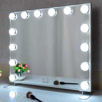 #4. BEAUTIME Silver Wall-mounted /Tabletop Hollywood Lighted Mirror w/Dimmer Bulbs