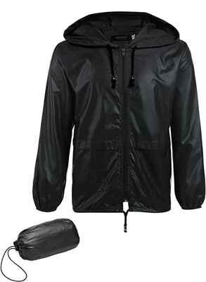 #1. COOFANDY Lightweight Classic Packable Outdoor Waterproof Men's Hooded Raincoat
