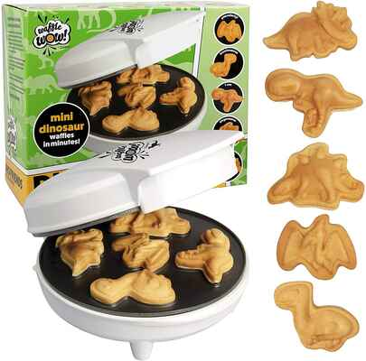 #5. CucinaPro Non-Stick Dinosaur 5 Different Shaped Dinos Mini Waffle Maker for Kids & Adults