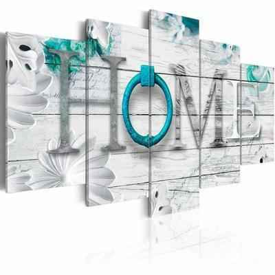 4. Funpark Art Dreamy 5-Panels Turquoise Canvas Print Painting Wall Art for Home Décor