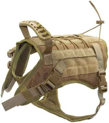 #8. EJG Comfy Mesh Padding w/Molle System & Velcro Area Tactical Dog Harness for Medium & Large Dogs