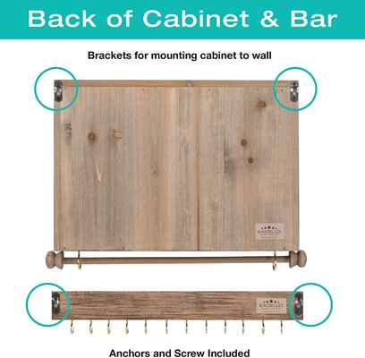 #5. Excello Global Wall-Mounted Jewelry Organizer w/Wooden Barn Door Décor for hanging jewelry