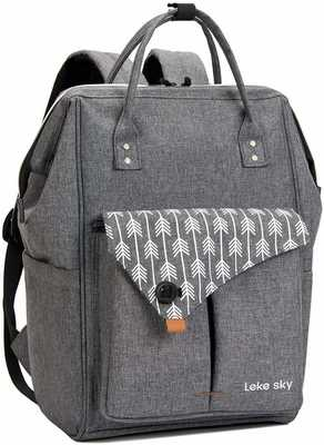 #9. Lekesky 15.6'' Stylish Water-Repellent Travel College Backpack for Men & Women (Grey)