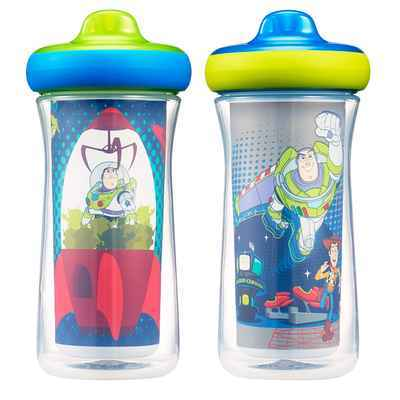 #5. The First Years 9 Oz Disney Toy Story Insulated Hard Spout Sippy Cups (Blue/Green)