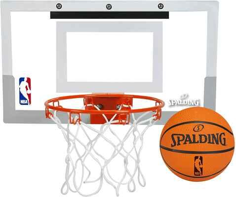 #5. Spalding 56099 9'' Steel Breakaway Rim Padded Board Over-The-Door Indoor Basketball Hoop
