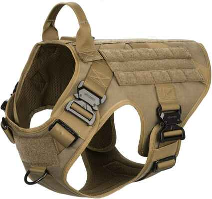 #2. ICEFANG No-Pulling Front Clip Hook & Loop Panel Tactical Dog Harness w/4X Metal Buckle
