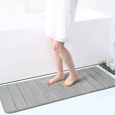 #4. Buganda Non-Slip 17'' x 47'' Memory Foam Soft Bath Mat for Bathroom Floors (Grey)