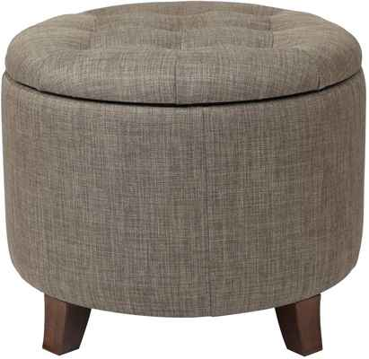 #3. Adeco 17-Inch Footstool Height Sturdy Fabric Cushion Round Button Tufted Ottoman (Brown)
