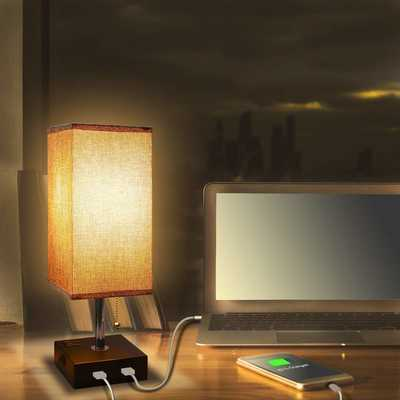 #3. Aooshine Modern Solid Wood Nightstand 2 USB Ports Grey Fabric Shade Bedside Table Lamp