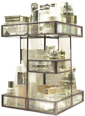 #1. HERSOO Large Capacity Brass Spin Mirrored Beauty Display Makeup Organizer Perfume Holder