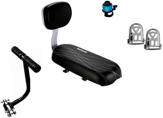 #8. ZHOUWHJJ Kid Child Carrier Bike Seat Rear Seat Cushion Armrest Footrest Set w/Backrest & Bell