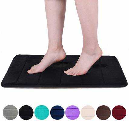 #9. Buganda Non-Slip Memory Foam Soft Absorbent Rubber Back Bathroom Runner Bath Mat (Black)