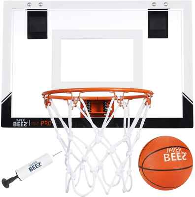 #2. JAPER BEES Wall Mount Mini Pro Over-The-Door Basketball Hoop w/Shatterproof Backboard