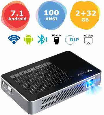 #10. WOWOTO A5 Pro 1080P HDMI USB Wi-Fi Bluetooth Android 7.1 100 ANSI Lumen Video Projector