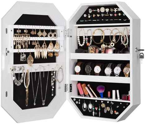 #4. LANGRIA Armoire Wall Mounted Diamond-Shaped Lockable Jewelry Cabinet Organizer w/Mirror