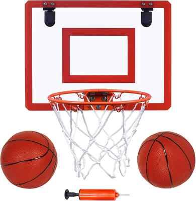 #9. Long Game Indoor Mini Basketball & Balls 16'' x 12'' Basketball Hoop for Door Set for Kids