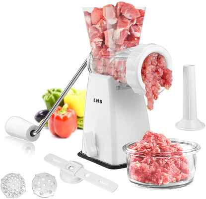 #6. LHS Heavy-Duty Powerful Suction Base Stainless Steel Blades Manual Meat Grinder for Home