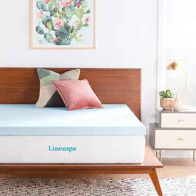 #9. Linenspa Twin XL Size 3'' Memory Foam Infused Gel Comfortable Mattress Topper