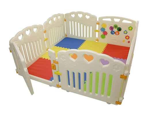 #1. BBNet 8 Pieces Pack N' Play Mattress Children Activity Center Playpen w/Play Mat & Gate Door