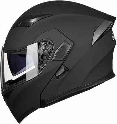 #4. ILM Dual Visor Flip-Up Dot Modular Full-Face Motorcycle Helmet (L, Matte Black- LED Lights)
