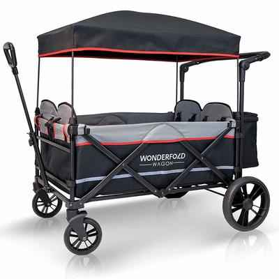 5. WonderFold Baby XXL Adjustable Handle 4-Passenger Quad Stroller Wagon (Black)
