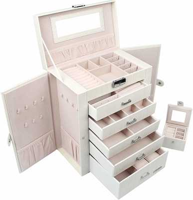 #3. Homde 2-in-1 Huge Faux Leather Jewelry Box for Girls & Women (White Wood Grain)