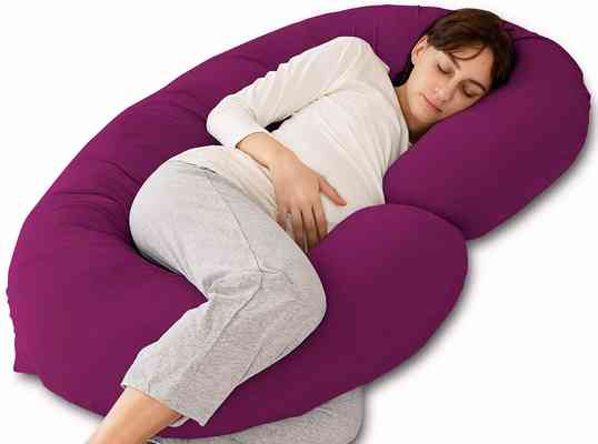 #10. Marine Moon C-Shaped with Jersey Cover Maternity Pillow & Full Body Pillow for Pregnant Women