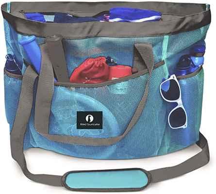 #7. Red Suricata Extra-Large Mesh Beach Bag & Tote w/Japanese YKK Zipper for Ladies