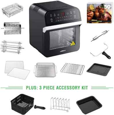#4. Yedi 12.7Qt BPA-Free Auto Shutoff Black XL Air Fryer Oven Deluxe Accessory Kit