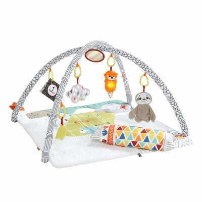 #1. Fisher-Price Plush Extra-Large Perfect Sense Deluxe Gym Infant Play Mat with Toys