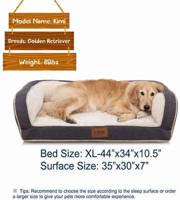 #1. EMME Orthopedic Ultra-Plush Deluxe Dog Couch Pet Bed Dog Bed for Small Medium & Large Dogs