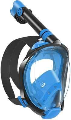 #2. W WSTOO Foldable Anti-Fog 180 Degree Panoramic Full Face Snorkel Mask (Black/Blue)