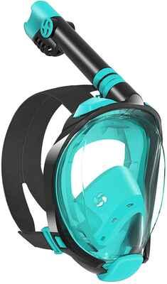#1. W WSTOO Foldable Anti-Leak Anti-Fog 180 Degree Panoramic Full Face Snorkel Mask