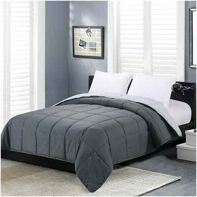 #6. Homelike Moment All-Season Reversible Lightweight Queen Gray Alternative Bed Comforter