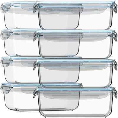 #4. Razab HomeGoods Strong Glass Set of 8 Meal Prep Leak-Proof Food Storage Container w/Lids