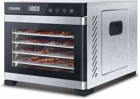 #5. CASORI 6 Stainless Steel Trays Digital Timer & Temperature Control Premium Food Dehydrator