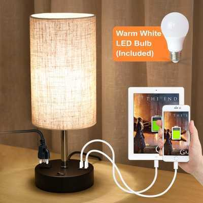 #4. Lifeholder Warm White LED Bulb Built-in 2 USB Ports Power Outlet Table Lamp for Bedroom