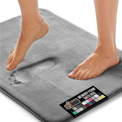 #6. Gorilla Grip Luxury Plush Original Thick Memory Foam Bath Rug (Graphite)