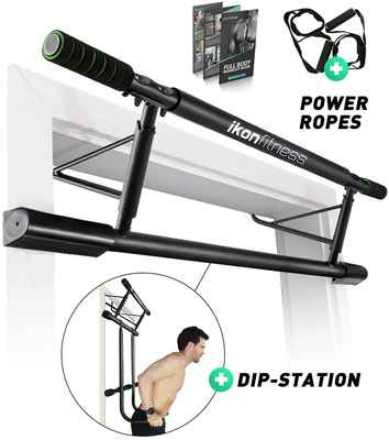 #5. Ikonfitness 4-in-1 Dips Bar & Power Ropes Door Trainer Raised Height Pull Up Bar
