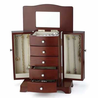 #7. RR ROUND RICH DESIGN 4 Drawers 2-Open Doors Mirror Wood Jewelry Box (Brown)