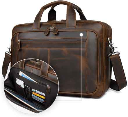 #4. Augus 15.6'' Business Travel Genuine Briefcase Leather Duffel Bags for Men (Dark Brown)