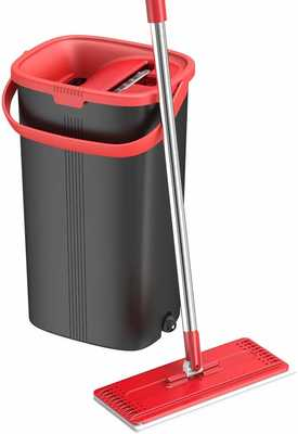 #10. Tethys Flat Floor Aluminum Handle Mop & Bucket kit for Professional Floor Cleaning