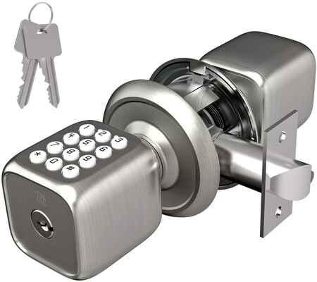 #9. TURBOLOCK Multi-Function Keyless Keypad Electronic Door Knob w/Lock (Brush Nickel)