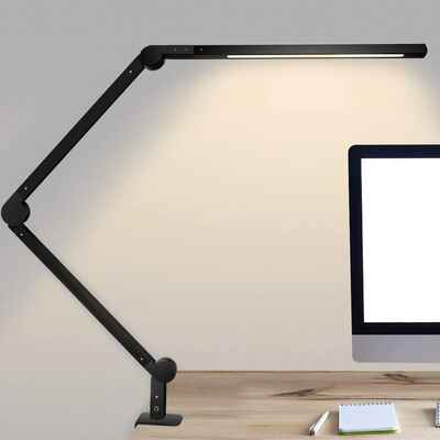 #6. Niulight 9W Eye-Caring Dimmable Swing Arm Lights LED Desk Lamp w/Clamp for Study