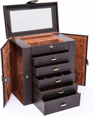 #2. HEZALA Large Removable Drawers & Mirror 6-Layer Leather Jewelry Organizer