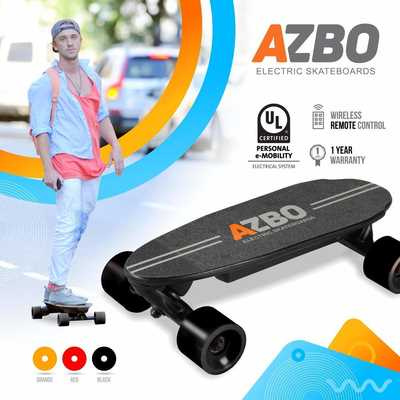 #2. AZBO 400W Motor 11 MPH Top Speed Portable Mini Electric Skateboard with Remote Control